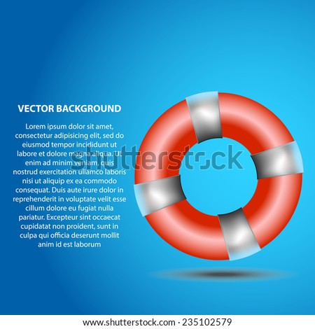 vector lifebuoy on a blue background with a place for the text - stock vector