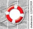 Vector lifebuoy on seamless pattern with waves of newspaper columns. Text in newspaper page unreadable. - stock vector