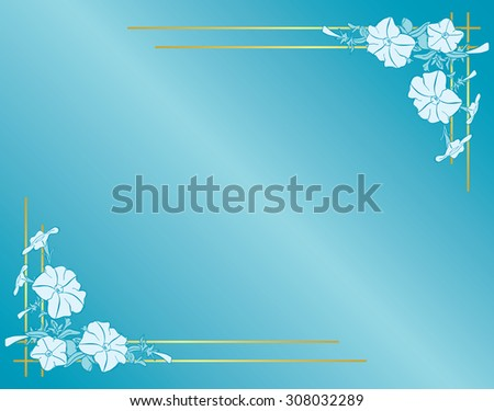 vector light blue card with flowers and gradient - stock vector