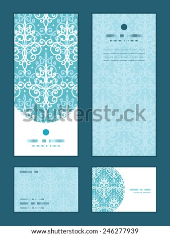 Vector light blue swirls damask vertical frame pattern invitation greeting, RSVP and thank you cards set - stock vector