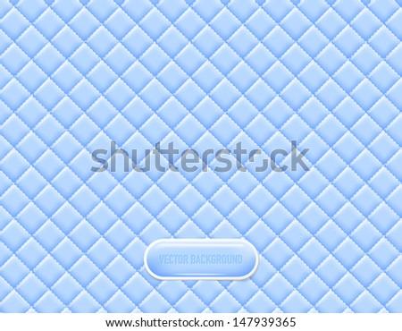 Vector light blue vinyl upholstery padded glossy background - stock vector