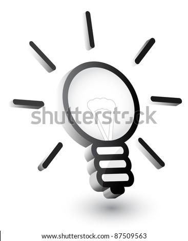 Vector light bulb, 3d - stock vector