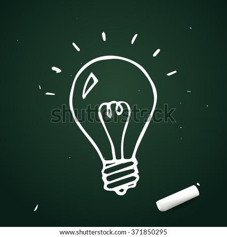 Vector light bulb hand drawn with chalk, doodle idea icon - stock vector