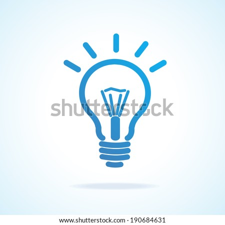 Vector Light bulb icon blue. Isolated on white - stock vector