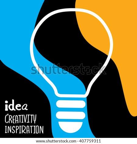 Vector light bulb icon with concept of idea. - stock vector
