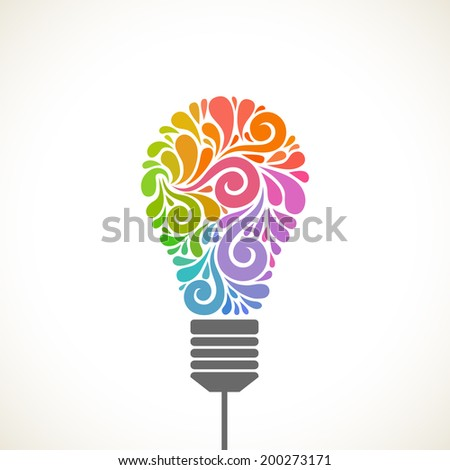 Vector light bulb icon with concept of idea. Color original sign of creativity. Illustration for print, web - stock vector
