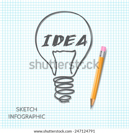 Vector light bulb icon with concept of idea. Doodle hand drawn sign.