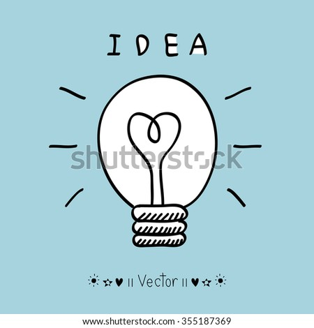 Vector light bulb icon with concept of idea. Doodle hand drawn sign. Illustration EPS10 great for any use. - stock vector
