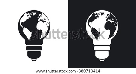 Vector light bulb icon world map stock vector 380713414 shutterstock vector light bulb icon with world map two tone version on black and white gumiabroncs Gallery