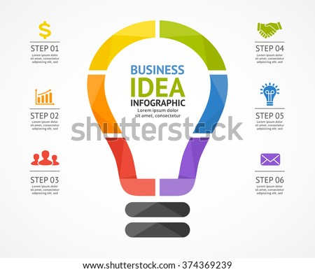 Vector light bulb infographic. Template for circle diagram, graph, presentation, chart. Business startup idea lamp concept with 6 options, parts, steps, process. Successful brainstorming infographics - stock vector