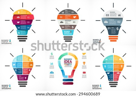 Vector light bulb infographic. Template for growth diagram, graph, presentation, chart. Business startup idea lamp concept with 4, 5, 6, 7 options, parts, steps, processes. Successful brainstorming