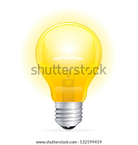 Vector Light bulb isolated on white - stock vector