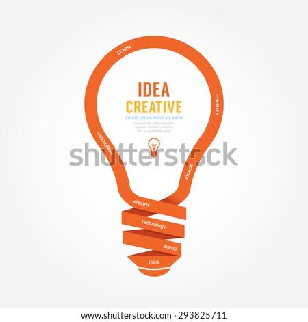 vector light bulb ribbon paper design creative line style. - stock vector
