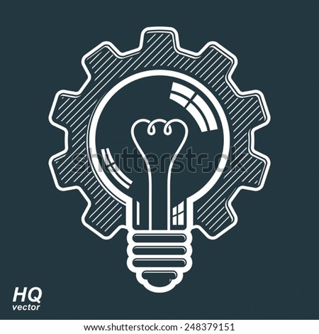 Vector light bulb shape, high quality cog wheel. Technical solution symbol, manufacturing and business idea icon, retro graphic gear. Industry innovation design element. - stock vector