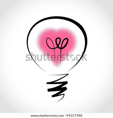 Vector light bulb, symbol of heart ,symbol of innovation and good ideas - stock vector