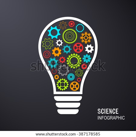 Vector light bulb with gear wheels infographic background - stock vector