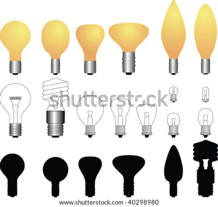 Vector light bulbs collection - stock vector
