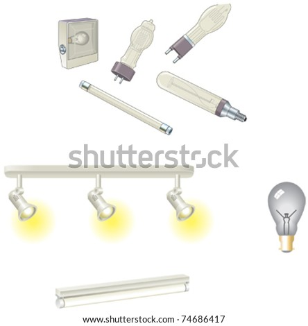 Vector light bulbs, lamps and fluorescent tube - stock vector