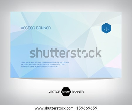 Vector light geometric web banner, business card or flyer design. Modern triangular background. Pale blue shades. Paper origami effect. Clean and minimalistic style. - stock vector