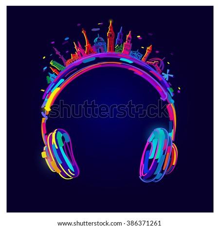 Vector Light Headphones, colorful headphones, easy all editable - stock vector