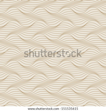 Vector light seamless pattern of grey wavy lines. Geometric decorative background with visual effect of volume folds. Simple abstract ornamental illustration with texture of covering, fabric, textile