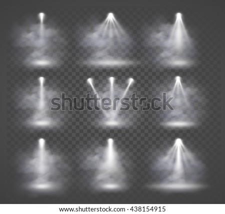 Vector light sources and smoke, concert lighting, stage spotlights set. Concert spotlight with beam, illuminated spotlights for web design illustration