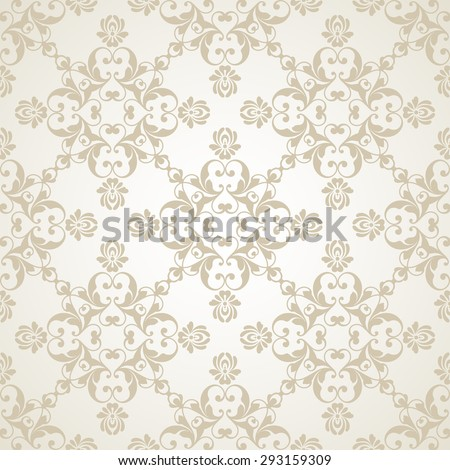 Vector light wedding background Seamless abstract pattern. Ornamental damask background with elegant pattern - stock vector