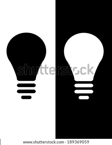 Vector lightbulb icon set against both black and white backgrounds - stock vector