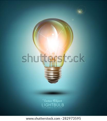 vector  lightbulb on a blue background - stock vector