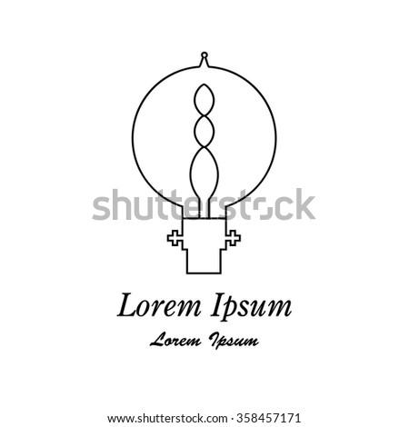 Vector Lightbulb web concept. Modern idea innovation light bulb illustration. Lamp icon, thin line style, flat design.  - stock vector
