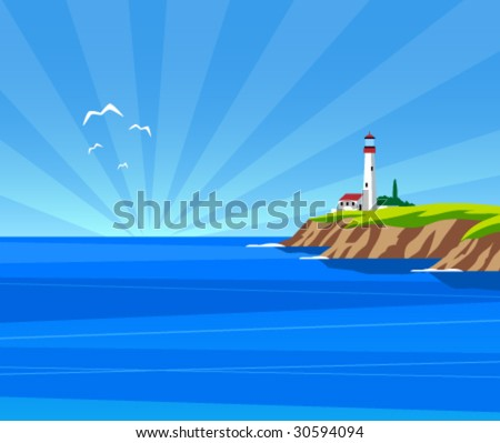 Vector lighthouse by day - stock vector