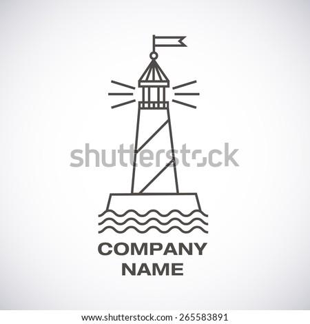 Vector lighthouse logo, modern line icon - stock vector