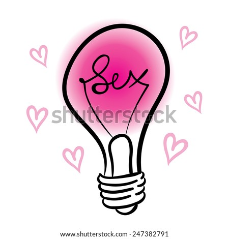 vector lighting bulb with SEX hand lettering - vector idea concept - stock vector