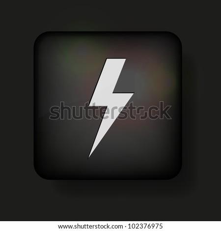 Vector lightning bolt icon on black. Eps10 - stock vector