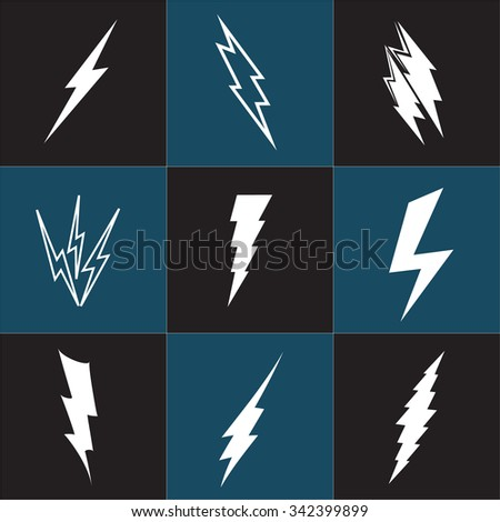 Vector lightning silhouette. Lightning Bolt icon. Set of black icons storm lightning. Thunderbolt silhouettes. Set of Thunder Lighting Icons. Lightning bolt vector. Lightning strike icon. Easy to use. - stock vector