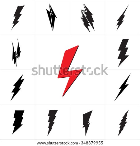 Vector lightning silhouette. Lightning Bolt icon. Set of black icons storm lightning. Thunderbolt silhouettes.  Lightning bolt vector. Lightning strike icon. Easy to use. - stock vector