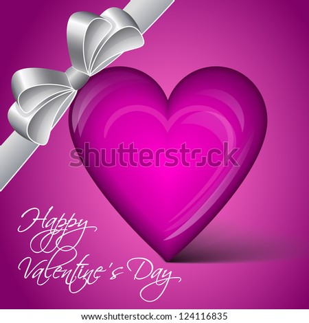 Vector lila heart - Happy Valentine's Day - stock vector