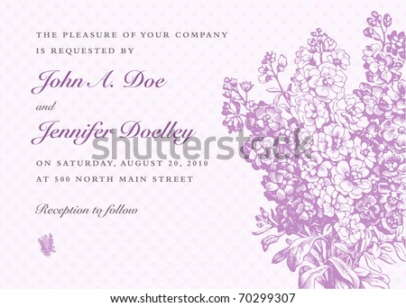 Vector lilac frame and background. Easy to edit. Perfect for invitations or announcements. - stock vector