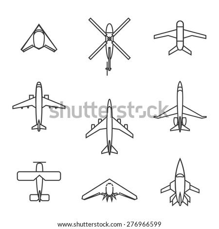 Vector line aircraft set. Airplane flight, plane and travel, transportation aviation, cargo and helicopter - stock vector