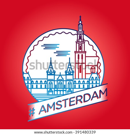 vector line amsterdam badge
