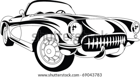 Vector Line art car - stock vector