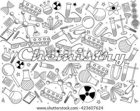 vector line art doodle set of cartoon characters and objects chemistry coloring book - Chemistry Coloring Book