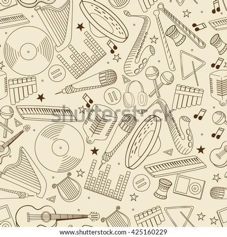 Vector line art Doodle set of cartoon characters and objects music. Seamless retro - stock vector