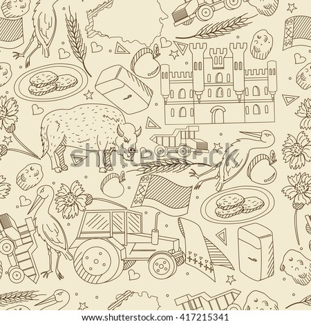 Vector line art Doodle set of cartoon characters and objects on Belarus. Seamless retro
