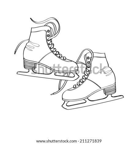 Vector line art illustration of classic ice skates for figure skating | Winter recreational item: ice skates for ladies - stock vector