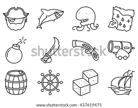 Vector line art minimalistic thin and simple pirate and criminal  icons set. Collection illustration of shark, helm, octopus, vintage gun and blade, old map, rum barrel, devil's bones, ?annon, ship - stock vector