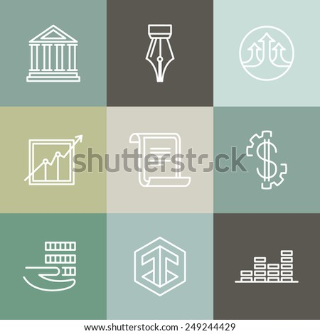 Vector line banking icons and logos - business and finance concepts - stock vector