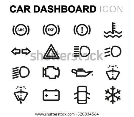 vector line car dashboard icons set stock vector 520834564 shutterstock. Black Bedroom Furniture Sets. Home Design Ideas