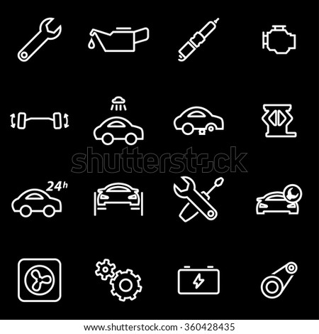 Vector line car service icon set.