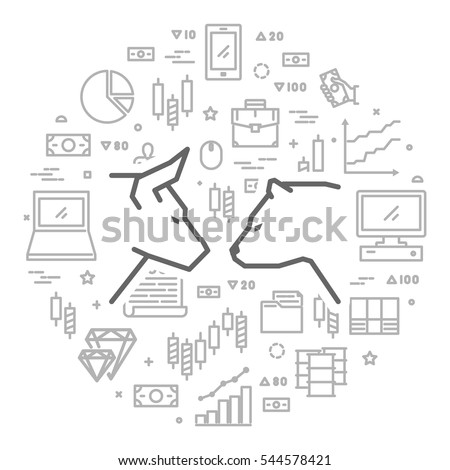 Vector line concept for stock market. Round banner of commodity exchange.